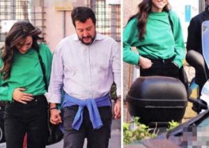 Matteo Salvini e Francesca Verdini a Roma, guarda le carezze