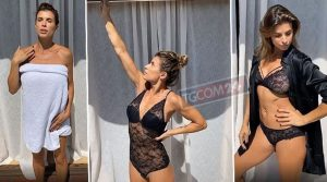 Elisabetta Canalis dall'accappatoio all'intimo, pochi secondi ad alto tasso erotico